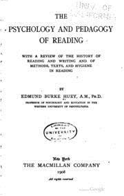 Szybkie czytanie - pierwsze publikacje: The psychology and pedagogy of reading - okładka książki